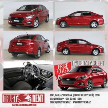 The absolutely new car of economy class Hyundai Accent 2019 with minimum mileage has become even more affordable. Already today renting a car for 10 days will cost only 530 AZN